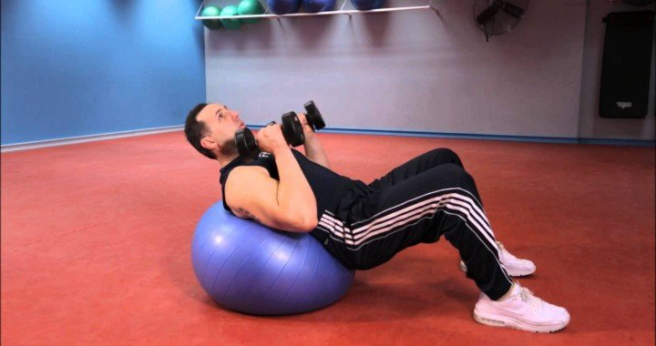 Best Triceps Exercises – Lying Tricep Extension on Exercise Ball