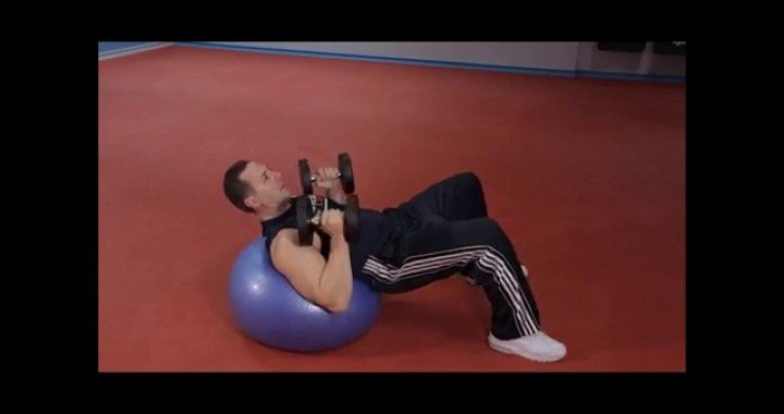 Exercise Ball Chest Press With Dumbbells